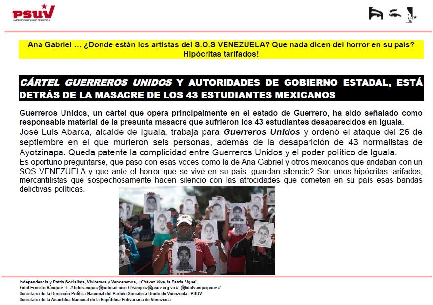 CÁRTEL GUERREROS UNIDOS Y AUTORIDADES DE GOBIERNO ESTADAL, ESTÁ DETRÁS DE LA MASACRE DE LOS 43 ESTUDIANTES MEXICANOS