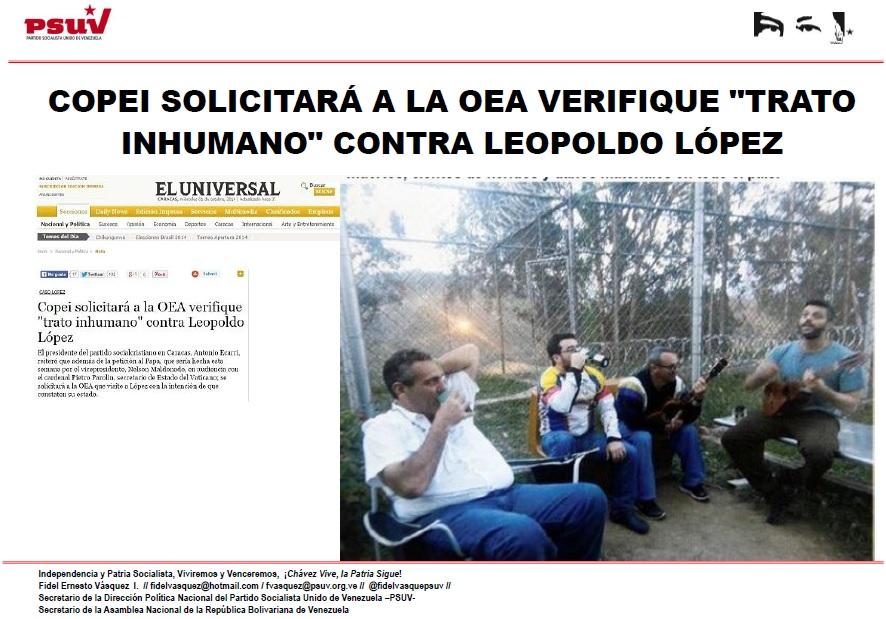 COPEI SOLICITARÁ A LA OEA VERIFIQUE TRATO INHUMANO CONTRA LEOPOLDO LÓPEZ