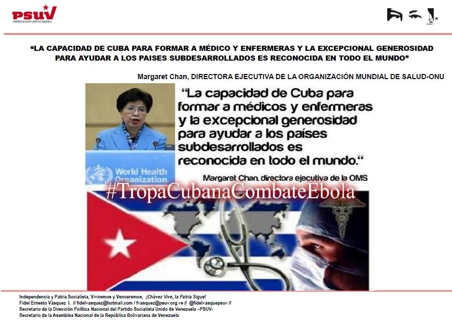 LA CAPACIDAD DE CUBA PARA FORMAR A MÉDICO Y ENFERMERAS Y LA EXCEPCIONAL GENEROSIDAD PARA AYUDAR A LOS PAISES SUBDESARROLLADOS ES RECONOCIDA EN TODO EL MUNDO