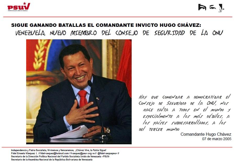 SIGUE GANANDO BATALLAS EL COMANDANTE INVICTO VENEZUELA, NUEVO MIEMBRO DEL CONSEJO DE SEGURIDAD DE LA ONU