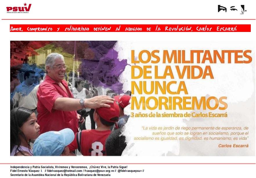 Amor, compromiso y solidaridad definen al abogado de la Revolución, Carlos Escarrá