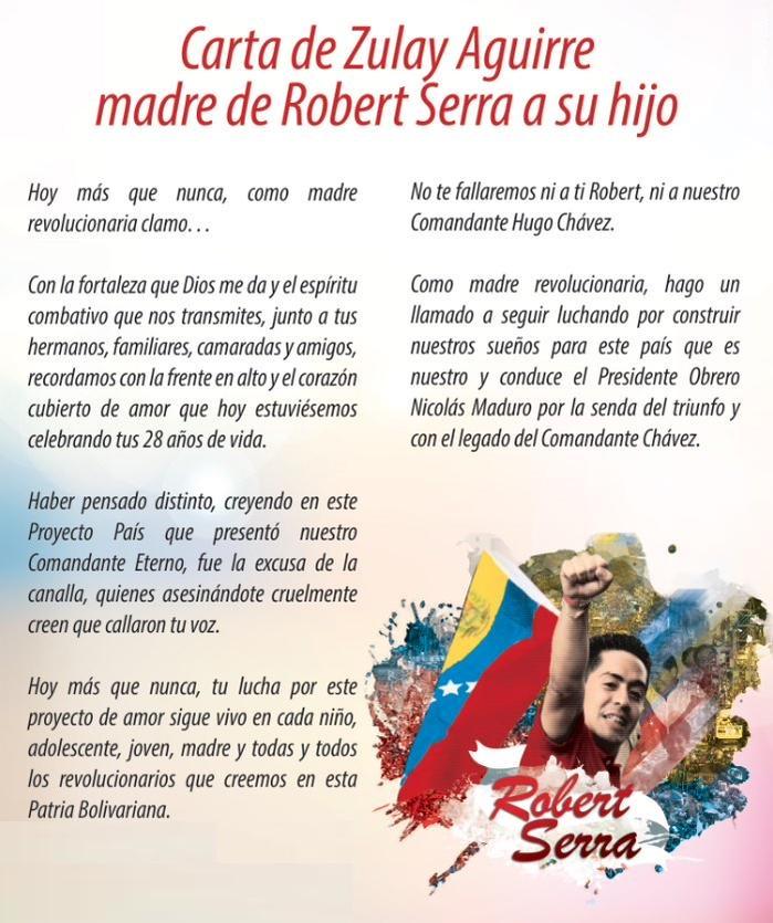 Carta de Zulay Aguirre madre de Robert Serra a su hijo