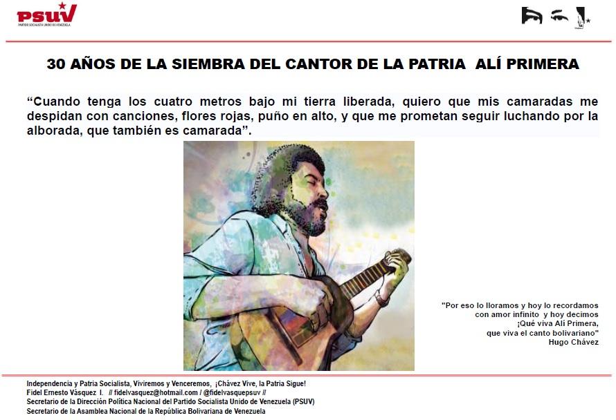 30 AÑOS DE LA SIEMBRA DEL CANTOR DE LA PATRIA  ALÍ PRIMERA