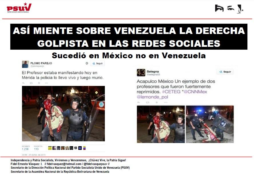 ASÍ MIENTE SOBRE VENEZUELA LA DERECHA GOLPISTA EN LAS REDES SOCIALES
