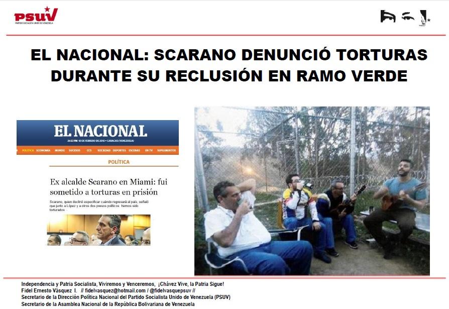 EL NACIONAL.- SCARANO DENUNCIÓ TORTURAS DURANTE SU RECLUSIÓN EN RAMO VERDE