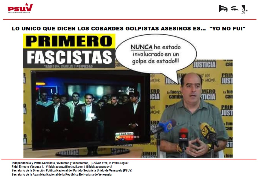 LO UNICO QUE DICEN LOS COBARDES GOLPISTAS ASESINOS ES…  YO NO FUI