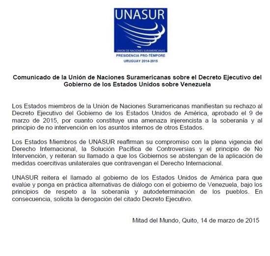 COMUNICADO UNASUR-Fidel Ernesto Vasquez