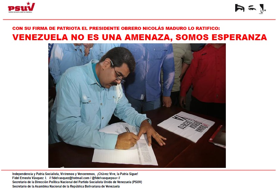 CON SU FIRMA DE PATRIOTA EL PRESIDENTE OBRERO NICOLÁS MADURO LO RATIFICO