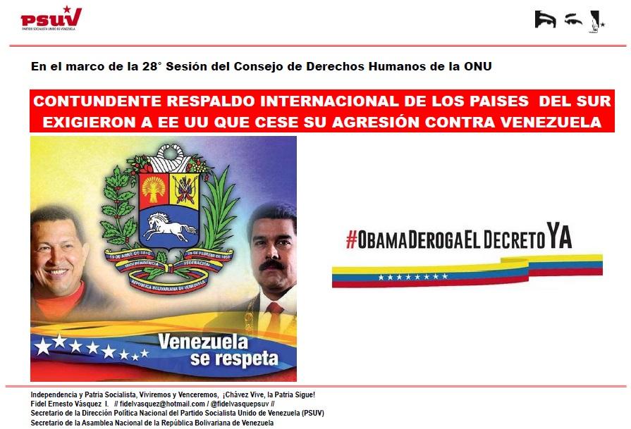 CONTUNDENTE RESPALDO INTERNACIONAL DE LOS PAISES  DEL SUR