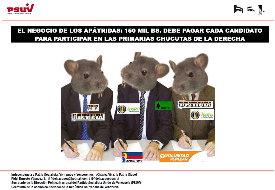 EL NEGOCIO DE LOS APÁTRIDAS.- 150 MIL BS. DEBE PAGAR CADA CANDIDATO PARA PARTICIPAR EN LAS PRIMARIAS CHUCUTAS DE LA DERECHA