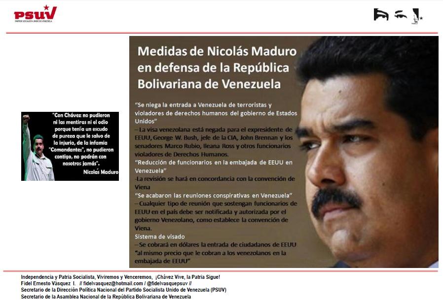 MEDIDAS DEL PRESIDENTE NICOLAS MADURO EN DEFENSA DE VENEZUELA