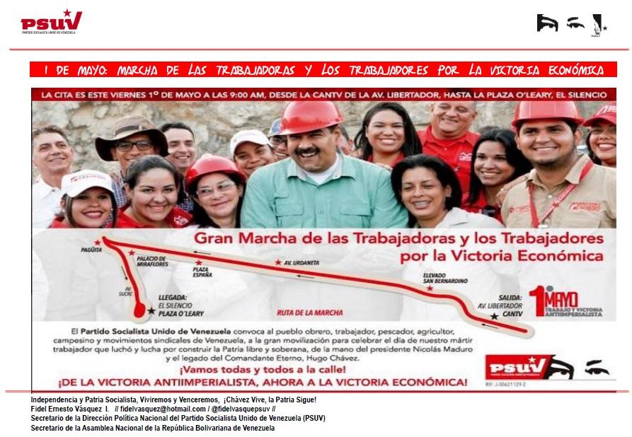 1 DE MAYO MARCHA DE LAS TRABAJADORAS Y LOS TRABAJADORES POR LA VICTORIA ECONÓMICA