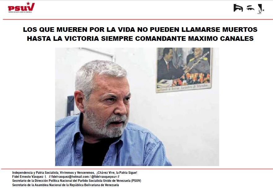 HASTA LA VICTORIA SIEMPRE COMANDANTE MAXIMO CANALES