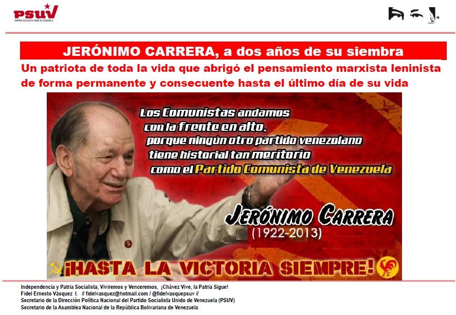 JERÓNIMO CARRERA, a dos años de su siembra
