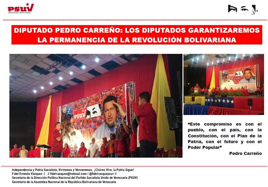 DIPUTADO PEDRO CARREÑO.- LOS DIPUTADOS GARANTIZAREMOS LA PERMANENCIA DE LA REVOLUCIÓN BOLIVARIANA