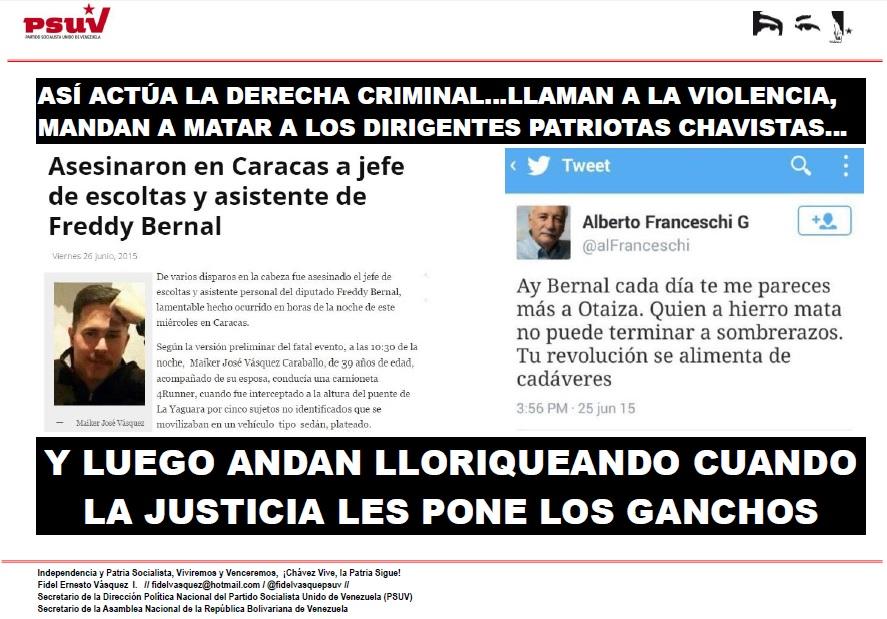 DERECHA CRIMINAL ASESINA A CHAVISTAS