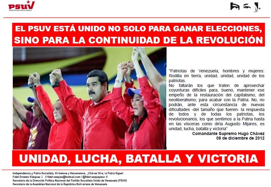 EL PSUV ESTÁ UNIDO NO SOLO PARA GANAR ELECCIONES, SINO PARA LA CONTINUIDAD DE LA REVOLUCIÓN