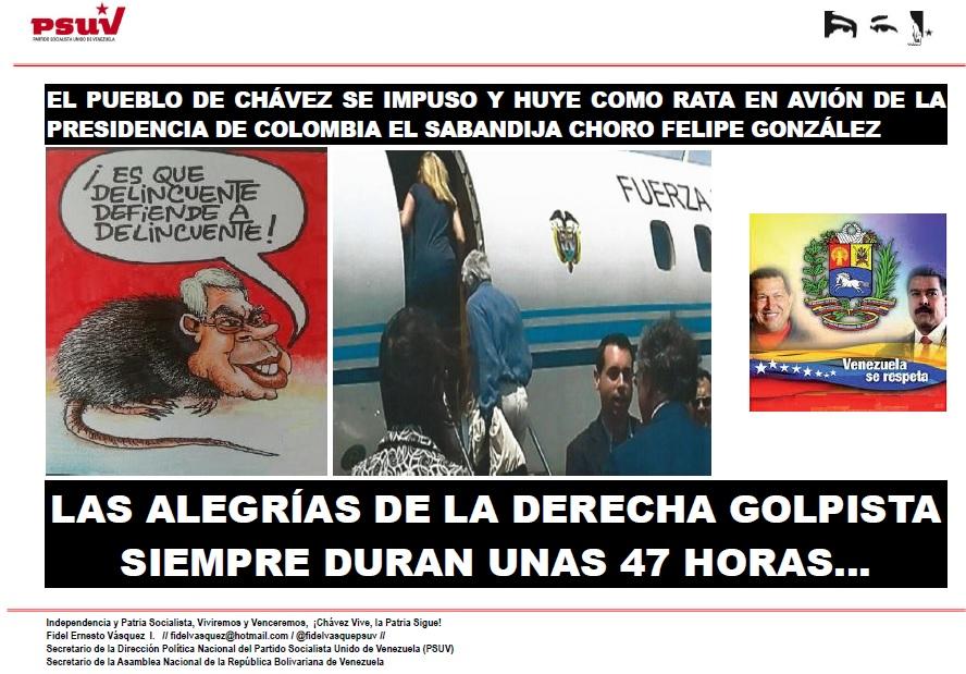 EL PUEBLO DE CHÁVEZ SE IMPUSO Y HUYE COMO RATA EN AVIÓN DE LA PRESIDENCIA DE COLOMBIA EL SABANDIJA CHORO FELIPE GONZÁLEZ