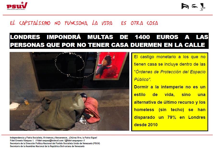 LONDRES IMPONDRÁ MULTAS  A LAS PERSONAS QUE  DUERMEN EN LA CALLE