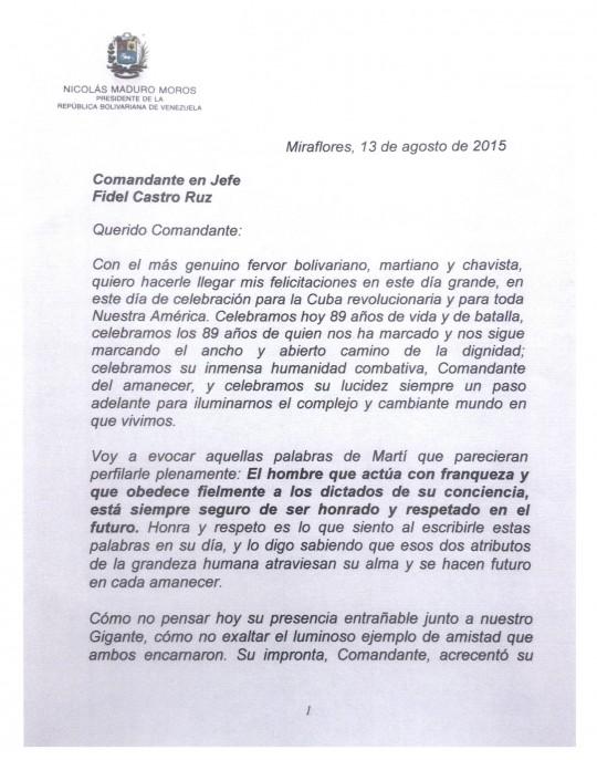 carta que a nombre de nuestro Pueblo entrego nuestro Presidente Obrero Nicolas Maduro al Comandante Fidel Castro en sus 89 años-pag 01