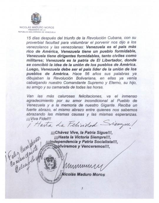 carta que a nombre de nuestro Pueblo entrego nuestro Presidente Obrero Nicolas Maduro al Comandante Fidel Castro en sus 89 años-pag 03