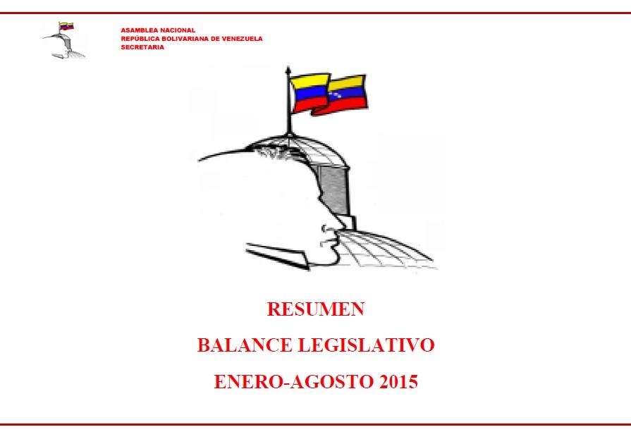 RESUMEN DE INFORME DE GESTION ASAMBLEA NACIONAL-ENERO-AGOSTO 2015-FIDEL ERNESTO VASQUEZ