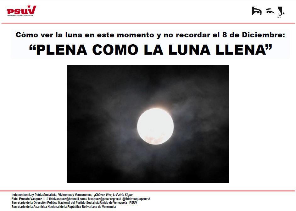 Cómo ver la luna en este momento y no recordar ese 8 de Diciembre PLENA COMO LA LUNA LLENA