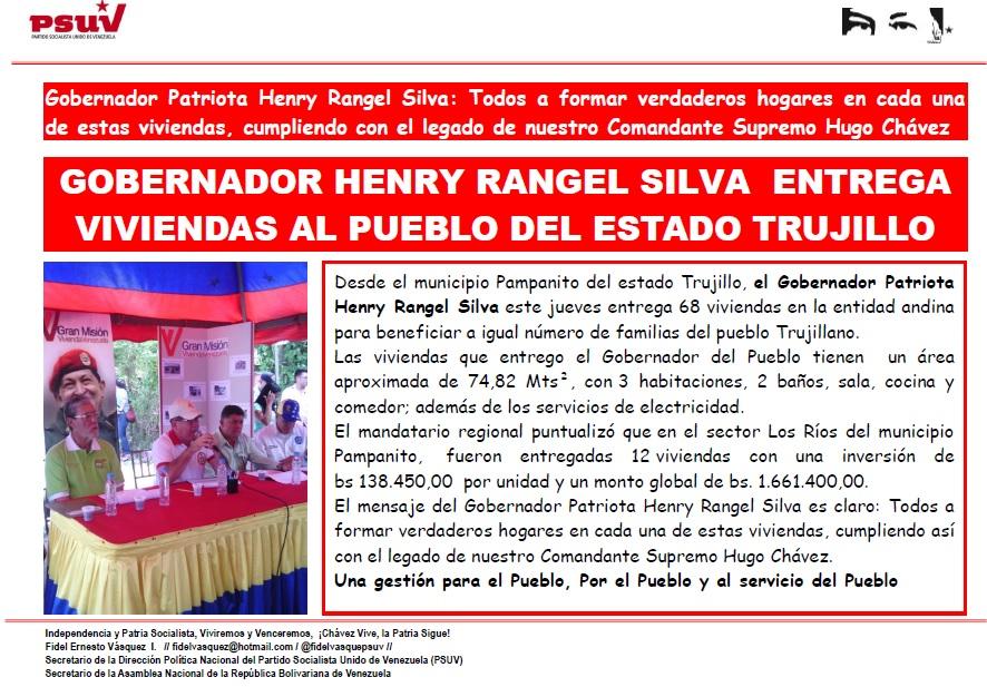 GOBERNADOR HENRY RANGEL SILVA  ENTREGA  VIVIENDAS AL PUEBLO DEL ESTADO TRUJILLO