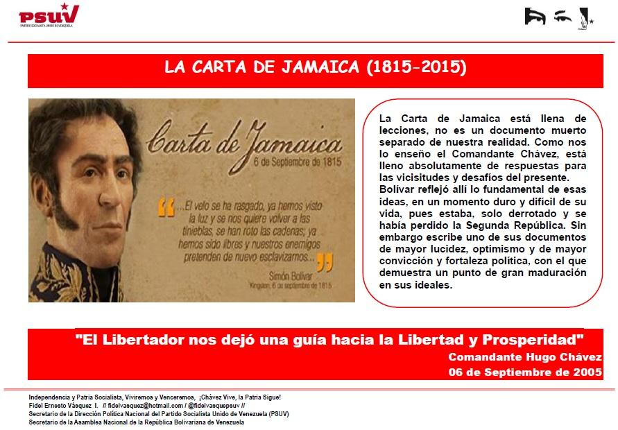 LA CARTA DE JAMAICA 1815-2015