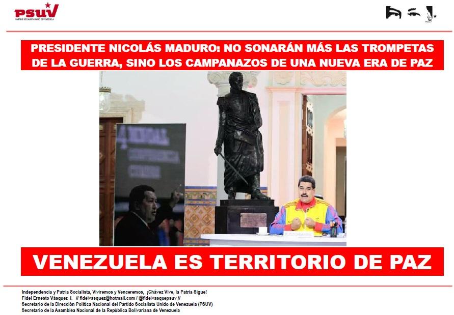 PRESIDENTE NICOLÁS MADURO NO SONARÁN MÁS LAS TROMPETAS DE LA GUERRA, SINO LOS CAMPANAZOS DE UNA NUEVA ERA DE PAZ
