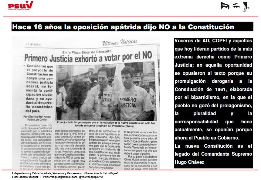 HACE 16 AÑOS LA OPOSICION APATRIDA DIJO NO A LA CONSTITUCION NACIONAL