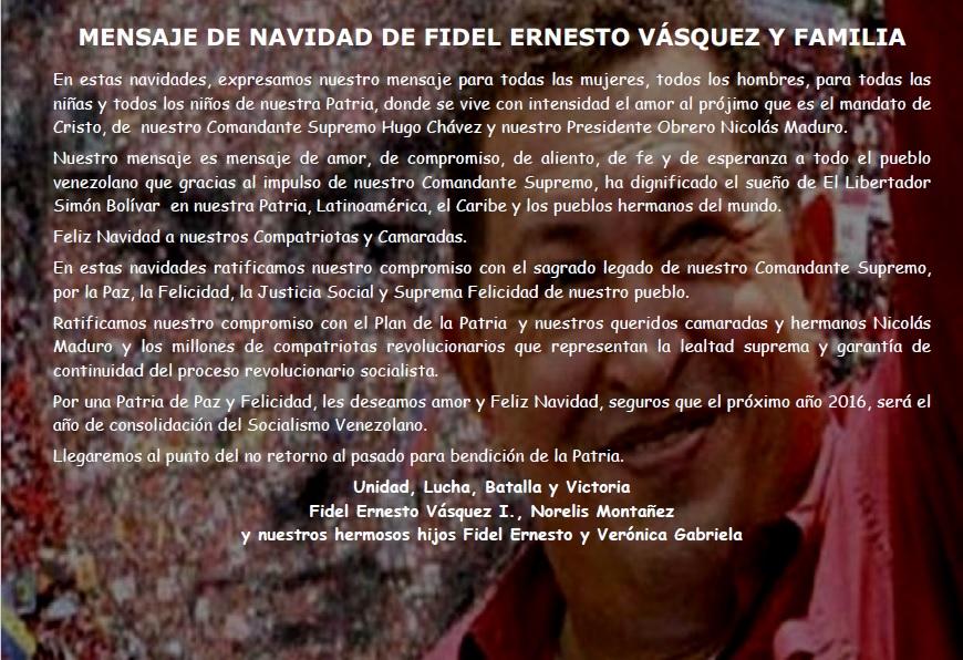 MENSAJE DE NAVIDAD DE FIDEL ERNESTO VASQUEZ Y FAMILIA