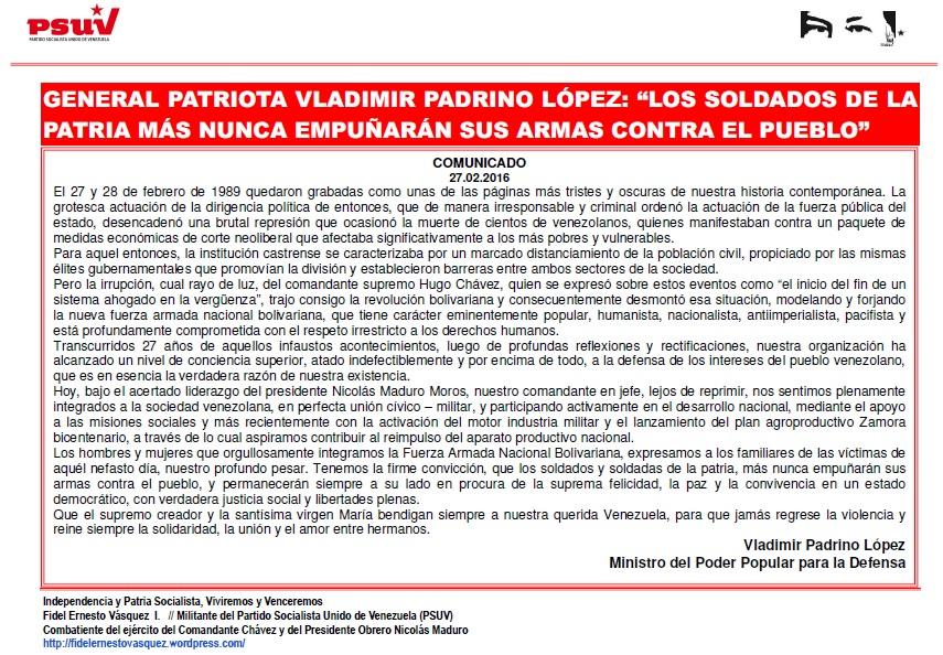 GENERAL PATRIOTA VLADIMIR PADRINO LOPEZ