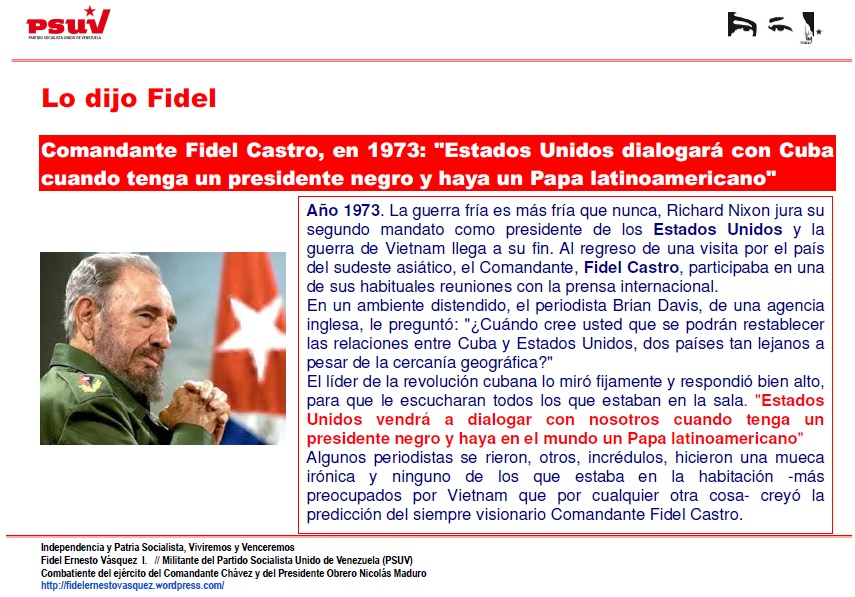 LO DIJO FIDEL...EN 1973