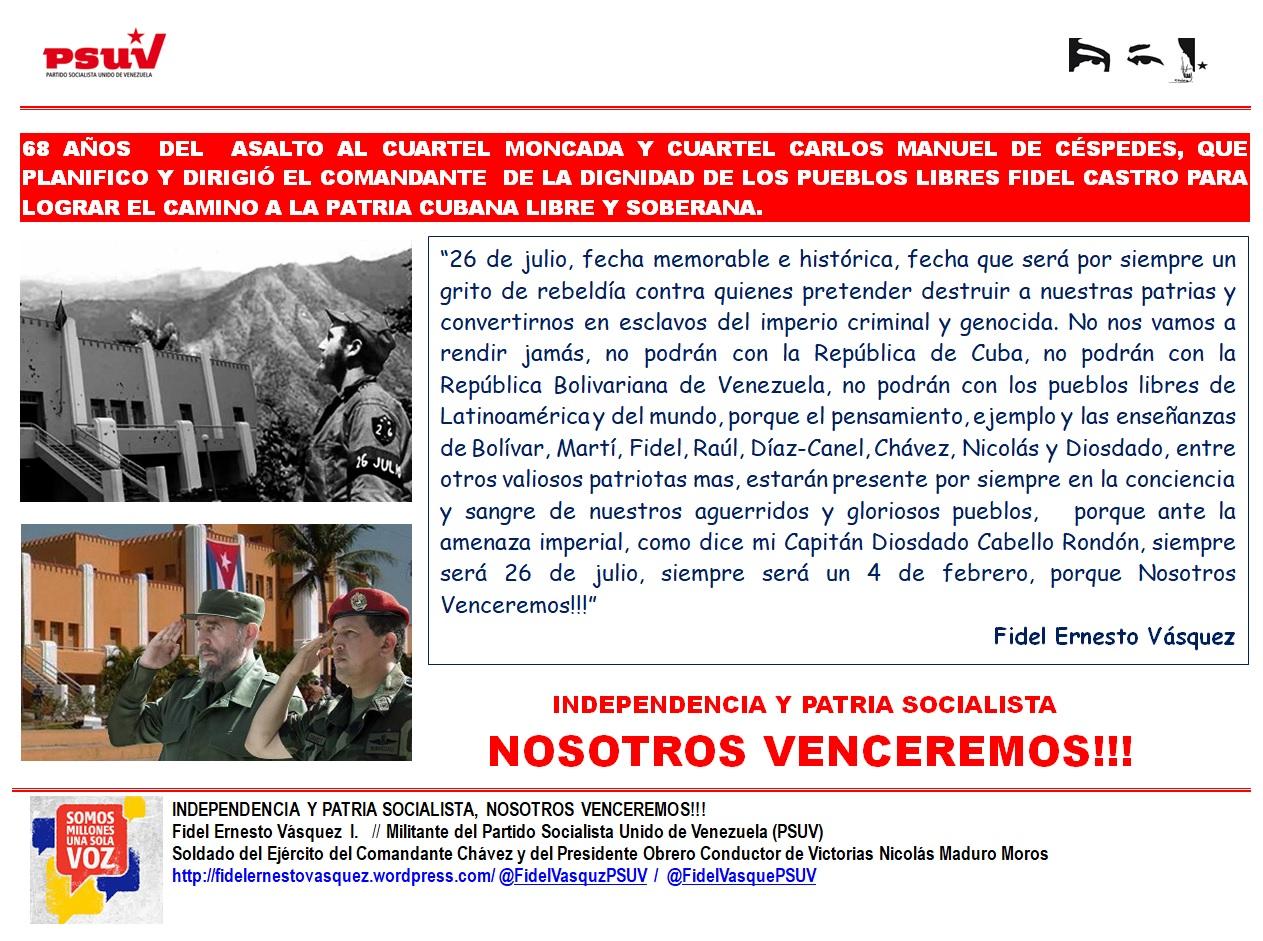 68 AÑOS DEL ASALTO AL CUARTEL MONCADA-Carpeta Fidel Ernesto Vásquez 25.07.2021