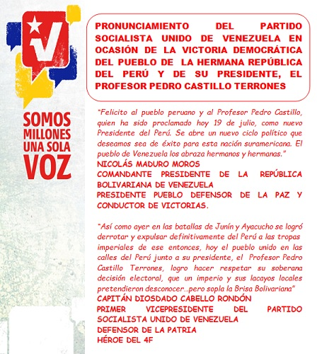 PORTADA PRONUNCIAMIENTO DEL PSUV-Carpeta Fidel Ernesto Vasquez 21.07.2021