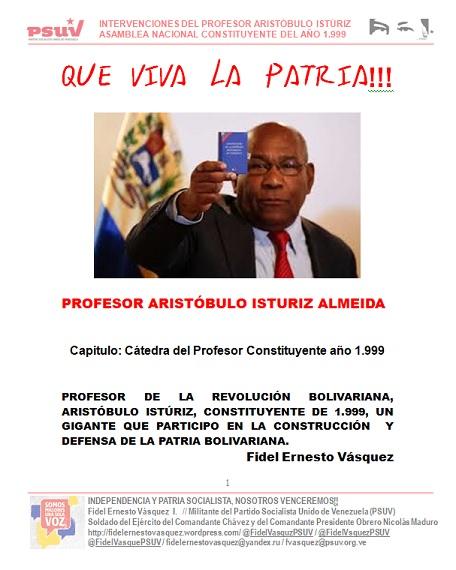 PORTADA PROFESOR ARISTOBULO ISTURIZ