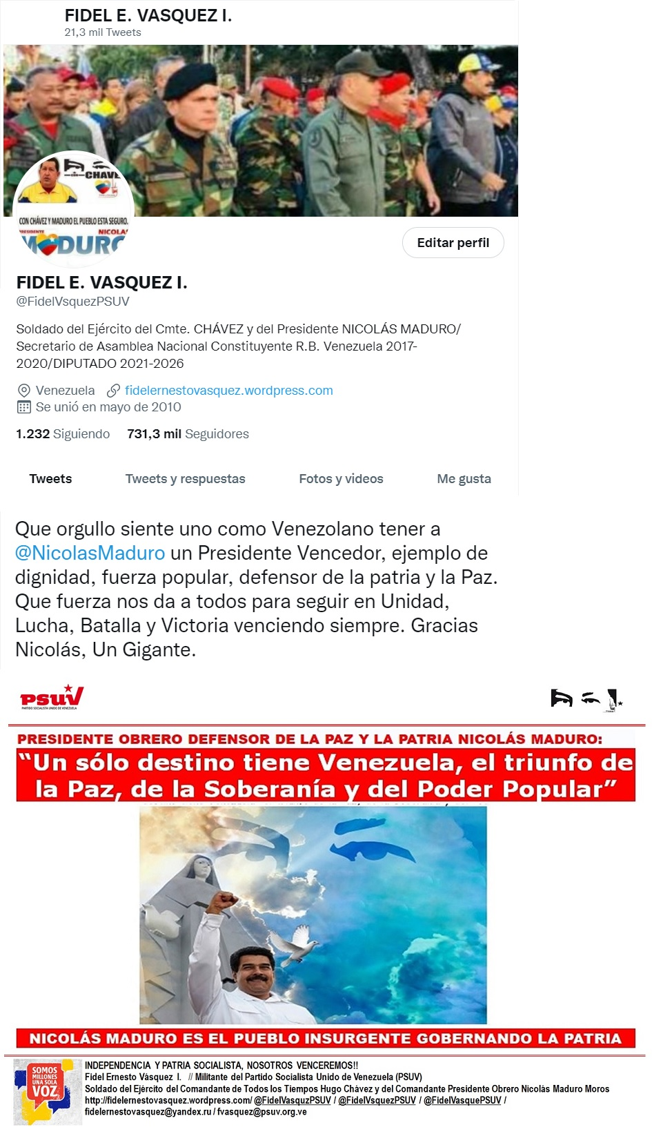 @NicolasMaduro @FidelVsquezPsuv Nosotros Venceremos